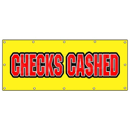 48 X120  Checks Cashed Banner Sign Cashing Cash Advance Loans Fast Paycheck Loan