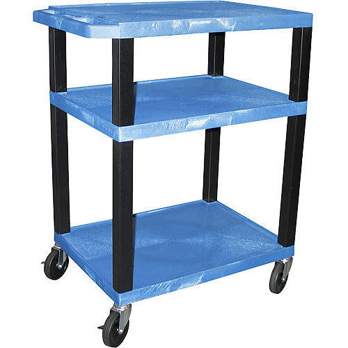 H. Wilson Tuffy A/V Cart 3 Shelves includes Electric, Blue Shelves & Black Legs