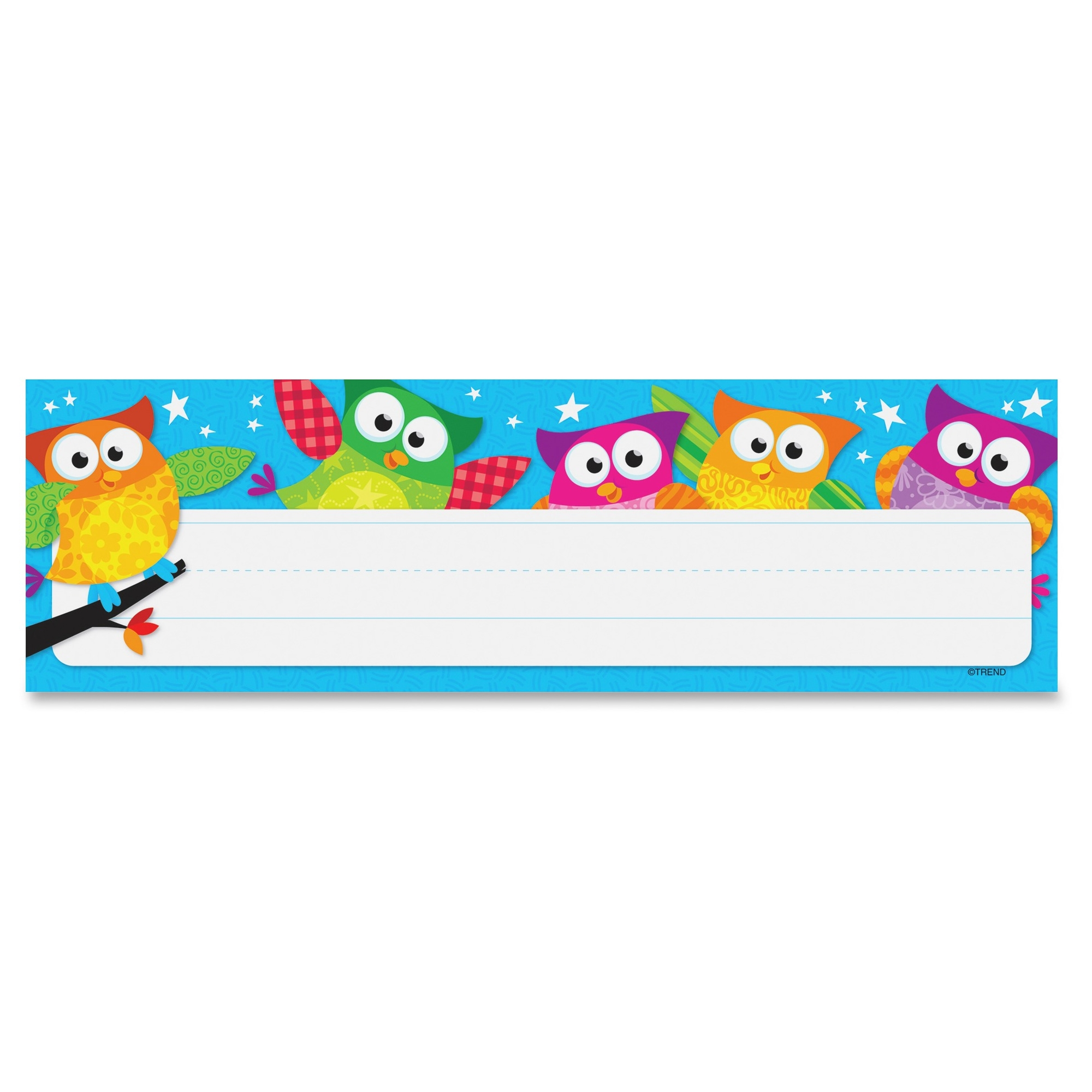 "Trend Owl-stars! Desk Toppers Nameplates - Learning Theme/subject - Colorful Owls, White Stars - 2.88"" Height X 9.50"" Width - Multicolor - 36 / Pack (tep-69217)"