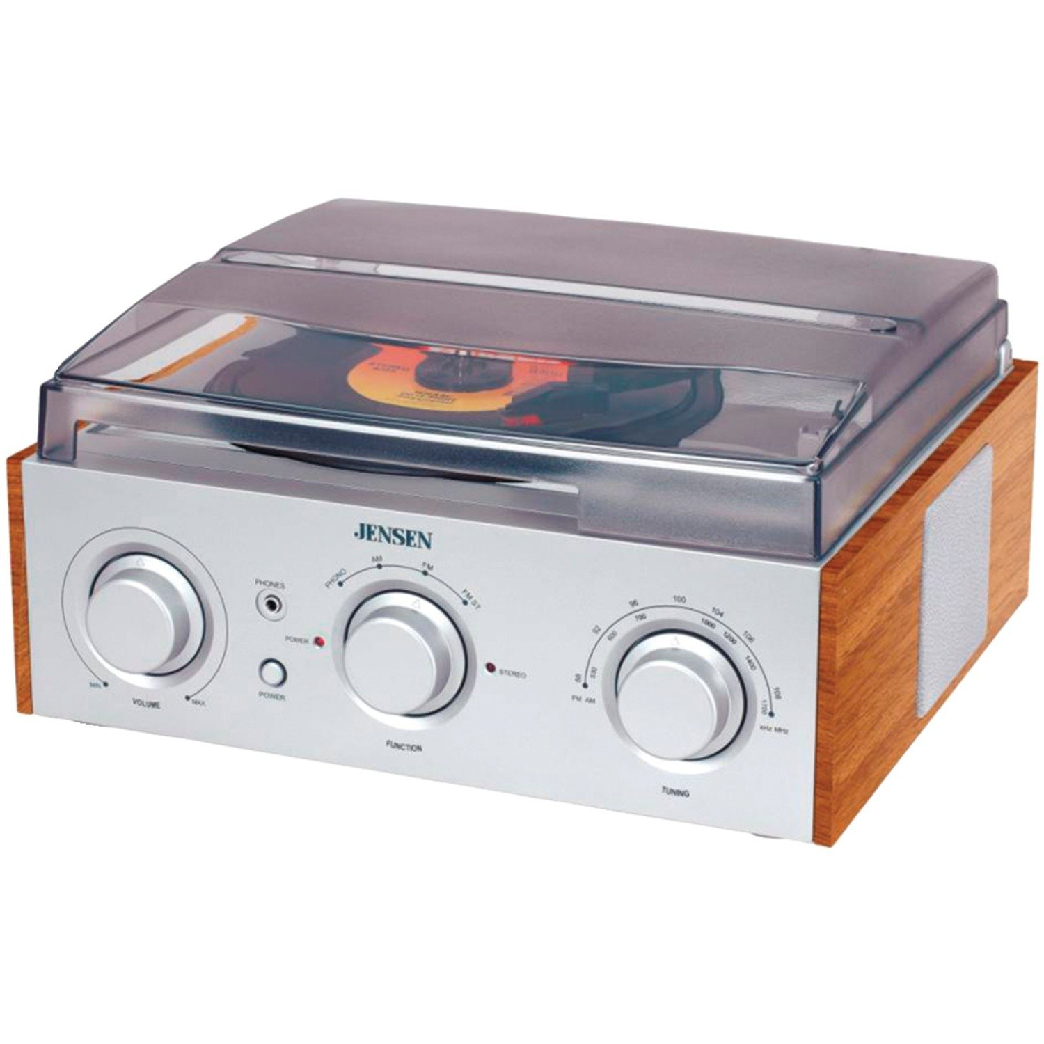 3-Speed Stereo Turntable with AM FM Stereo Radio (Silver), with Silver Turntable 3Speed... by Jensen
