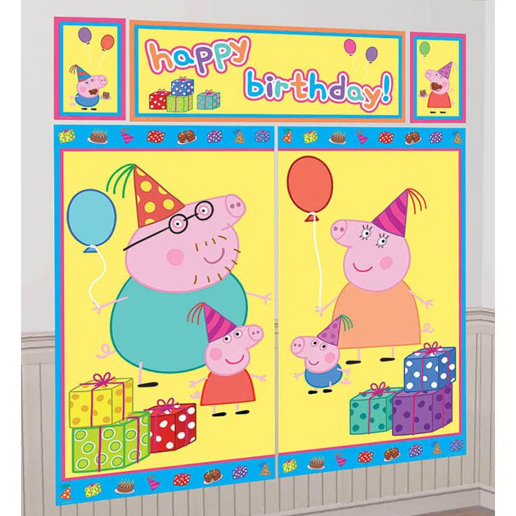 Peppa Pig Scene Setter (5 Total Pieces) - Party Supplies