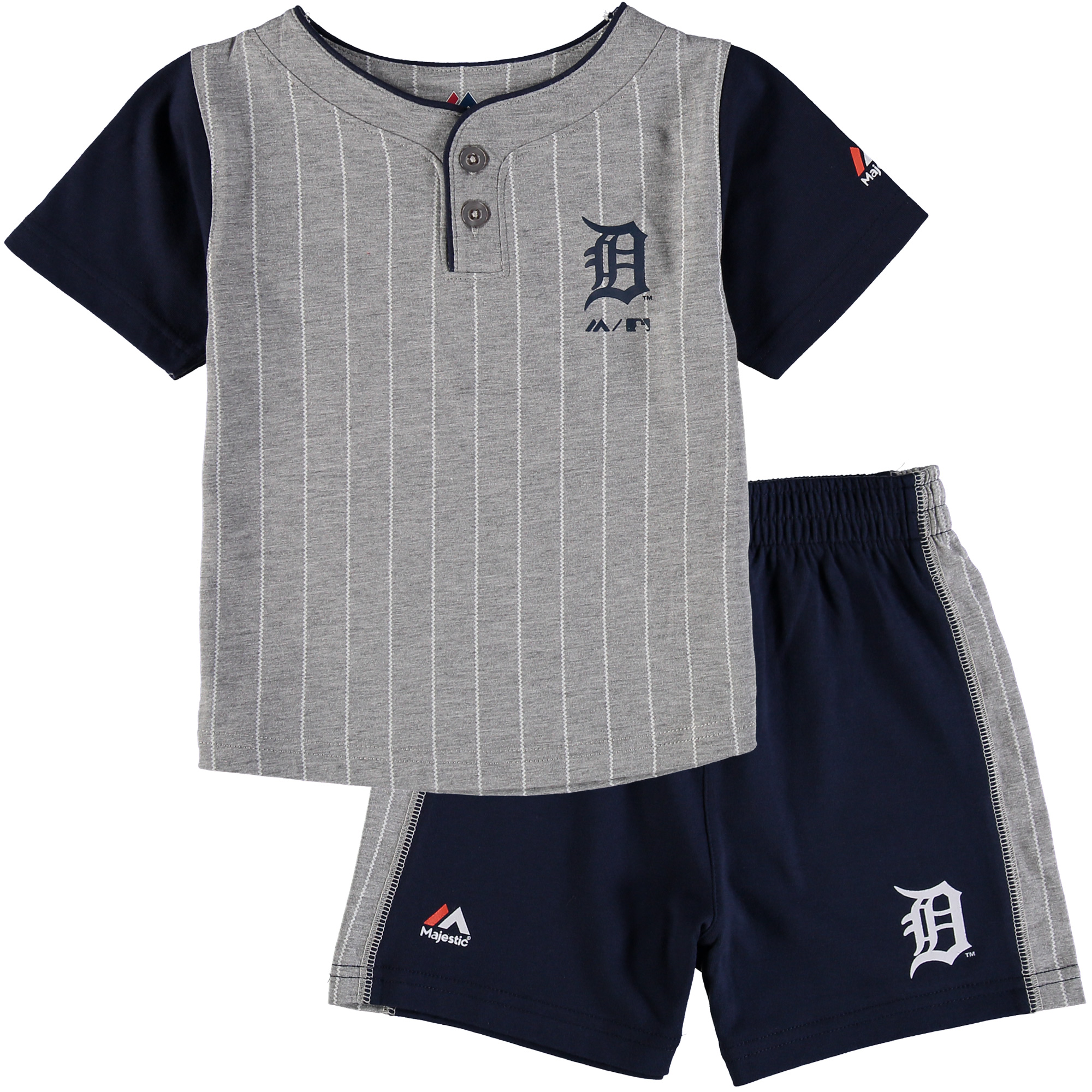 Detroit Tigers Majestic Toddler Batter Up T-Shirt & Shorts Set - Gray/Navy