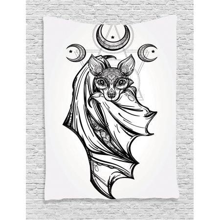 Occult Decor Tapestry Nocturnal Bat With Crescent Moon Spiritual Night Animal Creature Graphic