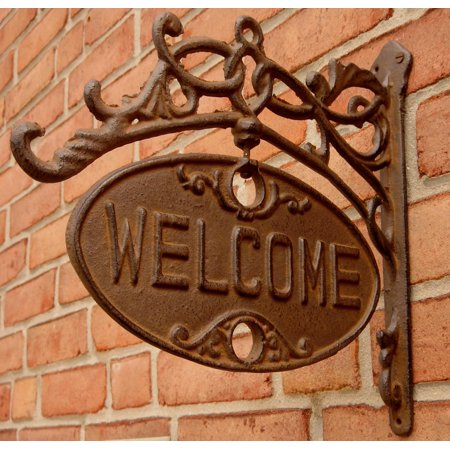Rustic ornate Cast Iron Front Door Gate Welcome GO AWAY Sign Funny Home Decor