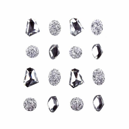Crystal Stickers Stones - Nugget Gems Self Adhesive Sticker, Crystal, 3/4-Inch, 16-Count