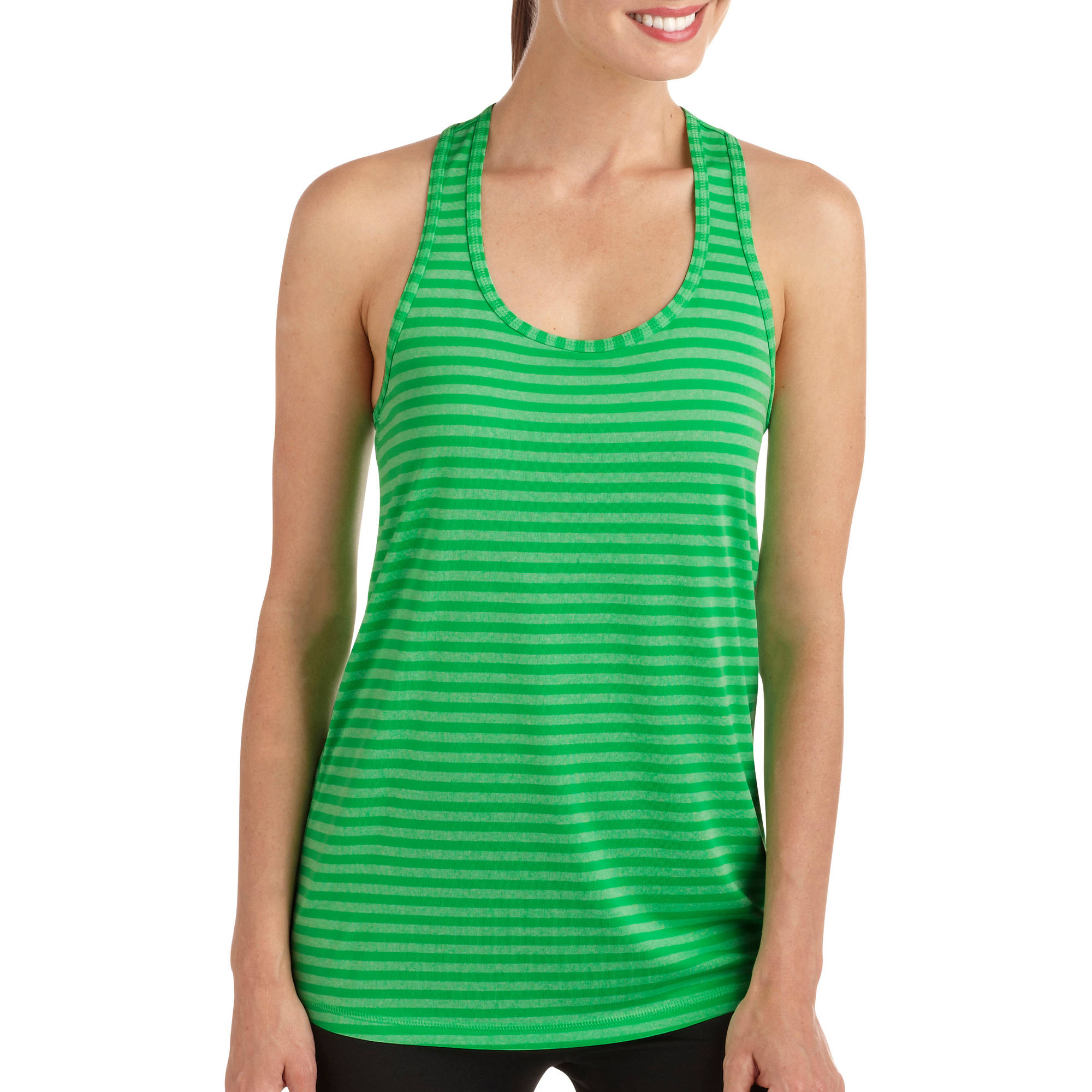 Danskin Now Women's Striped Performance Racerback Tank with Wicking