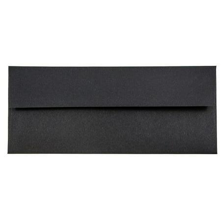 JAM Paper #10 Business Envelope, 4 1/8 x 9 1/2, Black Linen, 50/pack