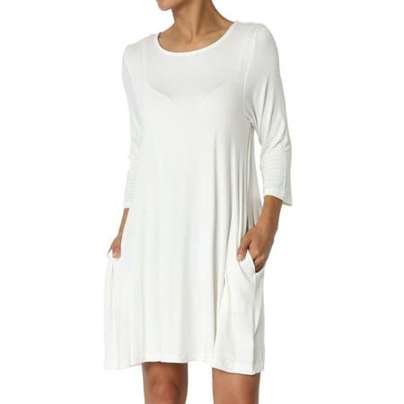 9d45c89c34d TheMogan Women s S~3XL Basic 3 4 Sleeve Swing Flared Tunic Dress Pocket  Long Top - Walmart.com