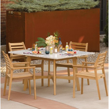 Wexford 5 Piece Natural Shorea Patio Dining Set W/ 48 Inch Square Lite-Core Ash Table By Oxford Garden