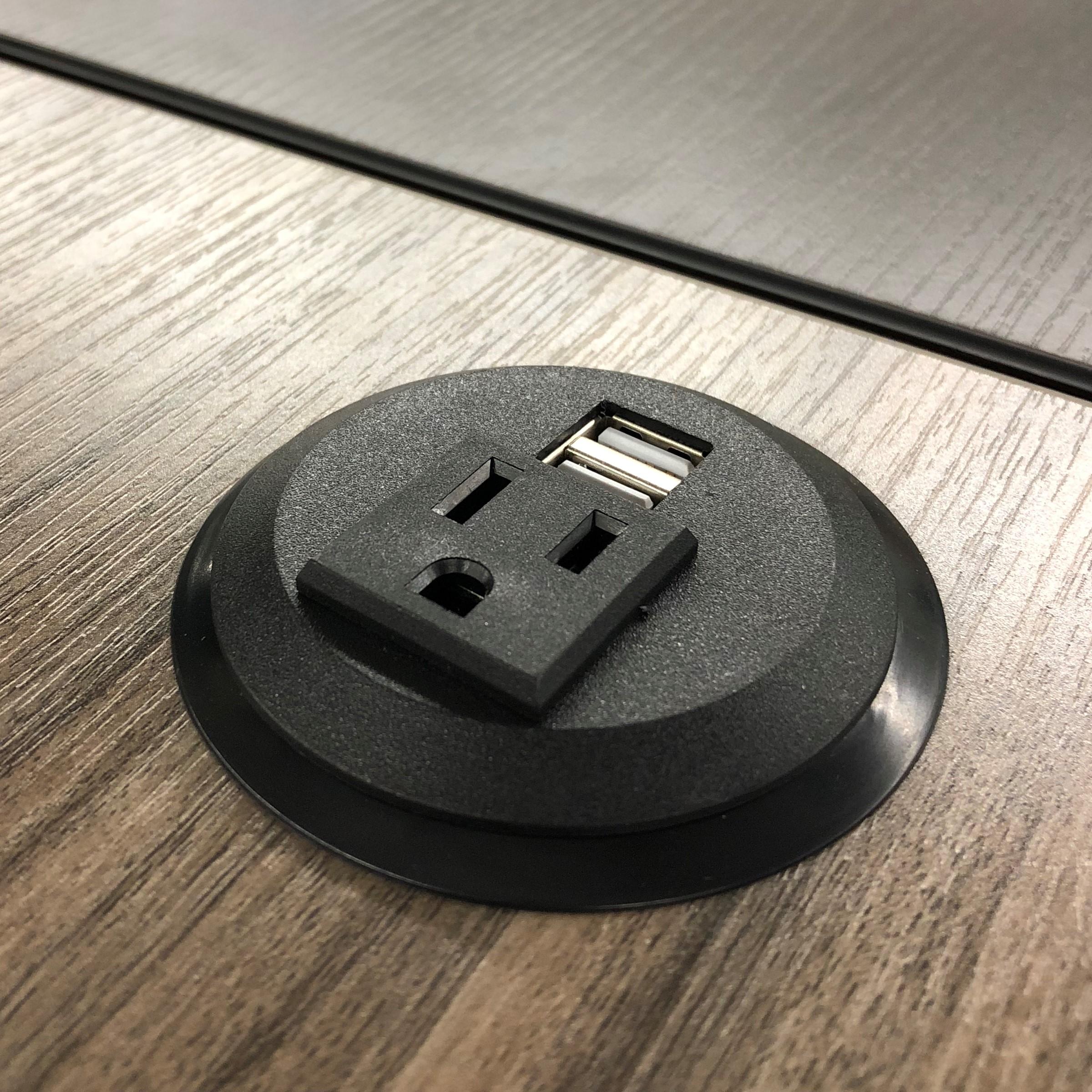 """Pwr Plug Power Grommet for Desk Office Furniture Fits 2""""-2.5"""" Standard Grommet Hole 1 AC Outlets 2 USB Charging Ports ETL Listed (Black)"""