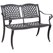 Alfresco Home Westbury Two Seat Garden Bench with Arms, Antique Bronze Finish