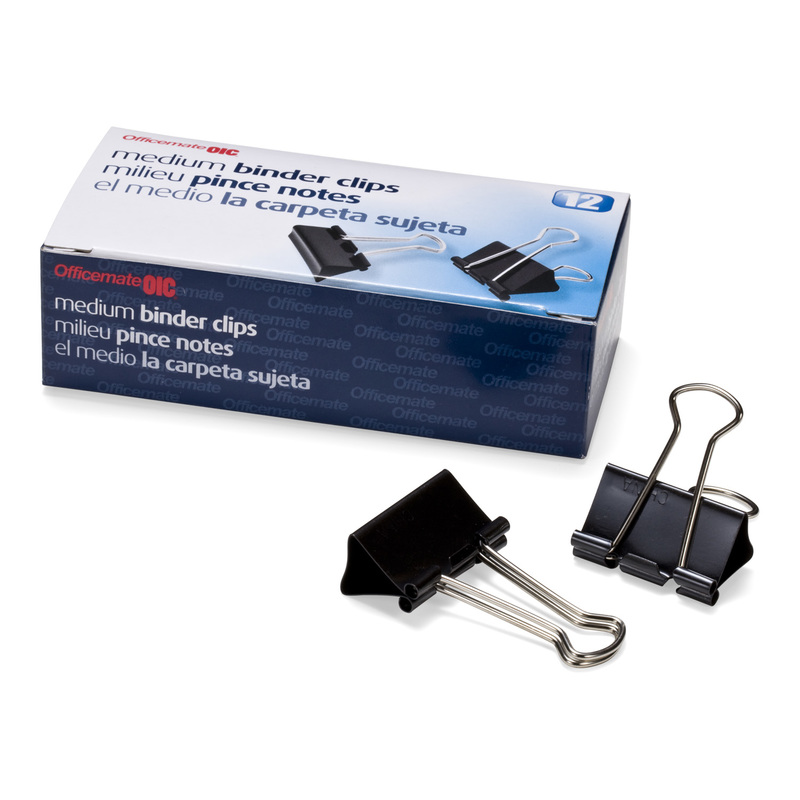 Officemate Medium Binder Clips, Black, Pack of 12 boxes (12 Binder Clips per pack)