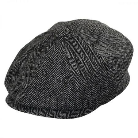 Baby Herringbone Wool Blend Newsboy Cap - 48cm (18-24 M) - Charcoal (News Boy Caps)