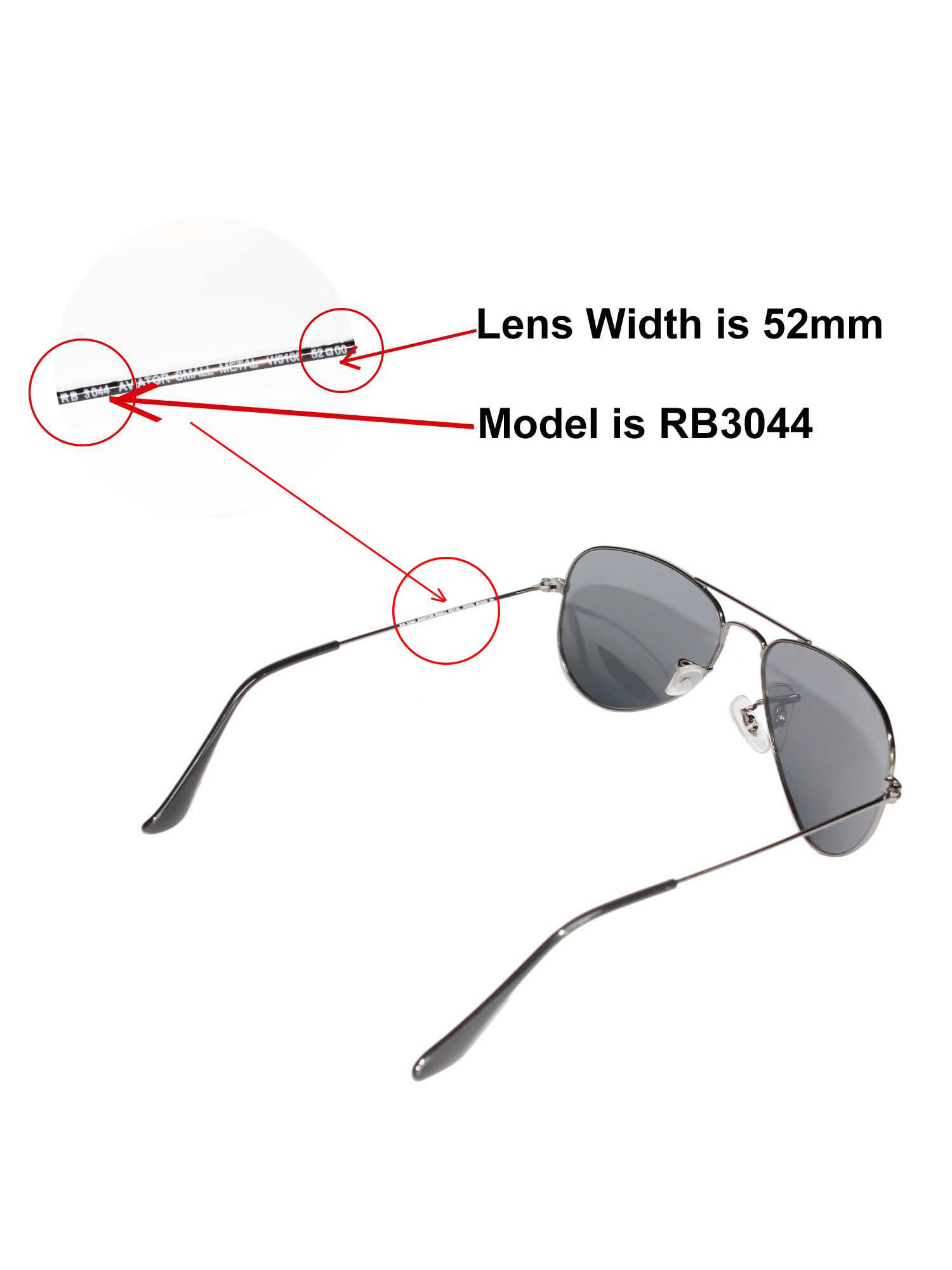 7d5257e5fd9 Walleva - Walleva Ice Blue Polarized Replacement Lenses for Ray-Ban Aviator  RB3044 Small Metal 52mm Sunglasses - Walmart.com