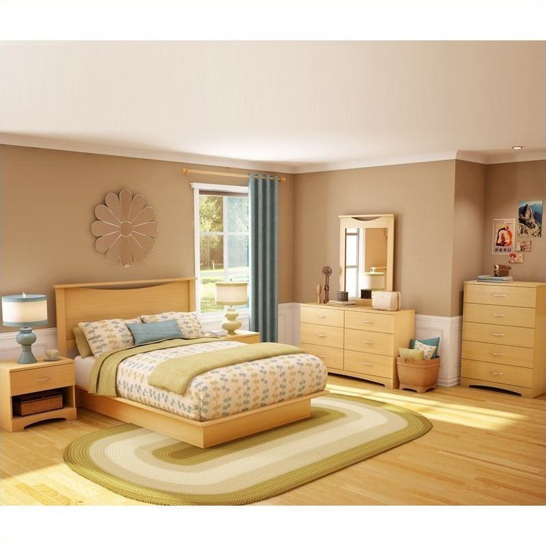 South Shore Copley Wood Panel Headboard 4 Piece Bedroom Set in Natural Maple by South Shore