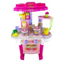 Toy kitchen play set, toddler pretend play kitchen with accessories