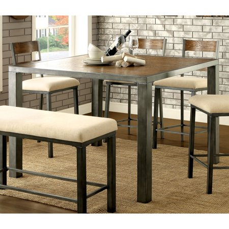 Furniture of America  Kesso Weathered Oak Metal Counter Height Table