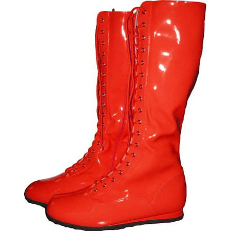 Red Adult Wrestling Boots](Wrestling Halloween)