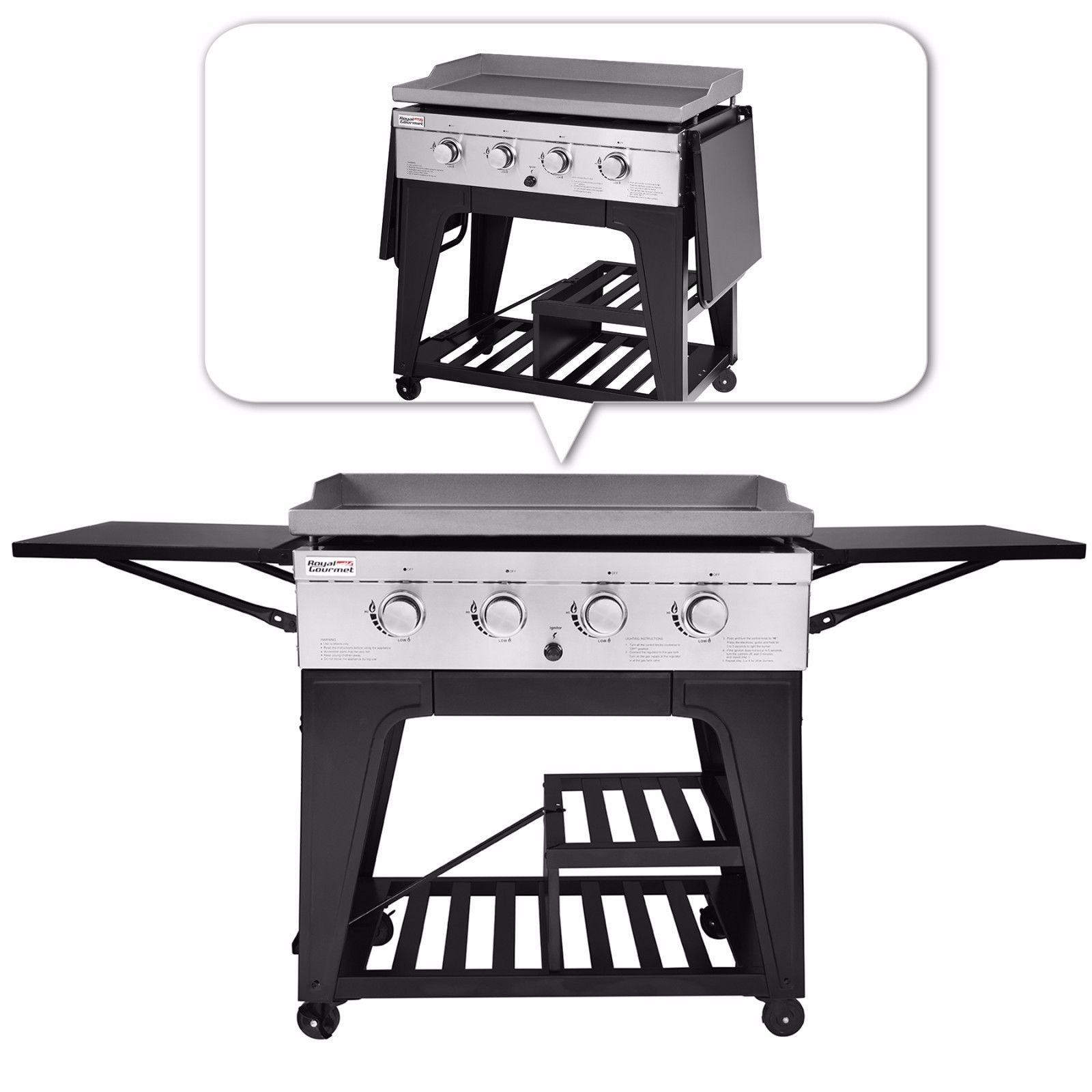 Royal Gourmet GB4000 4-Burner BBQ Gas Propane Grill Griddle