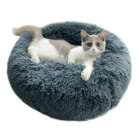 Fymall Luxury Faux Fur Pet Bed for Cats Small Dogs Cuddler Oval Plush Bed Designer Oval Dog Bed