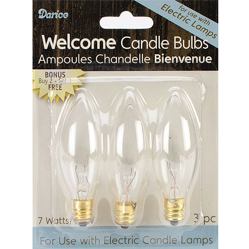 Candle Lamp Collection, Welcome Candle Bulbs, 7-Watt, 3/Pkg