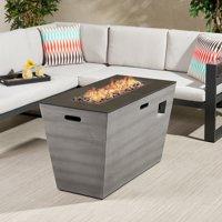 Nataly Outdoor 40-Inch Rectangular Fire Pit, Dark Gray, Gloss Black