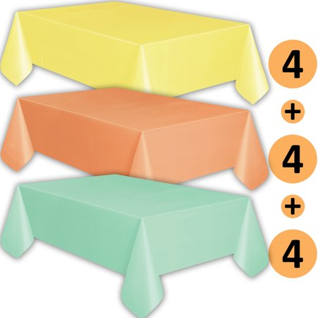 12 Plastic Tablecloths - Lemon yellow, Peach, Mint - Premium Thickness Disposable Table Cover, 108 x 54 Inch, 4 Each Color