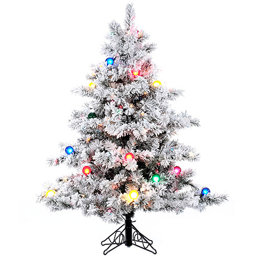 "Pre-Lit 4.5' x 44"" Alaskan Dura-Lit Artificial Christmas Tree, Flocked White on Green, Multi-Colored Lights"