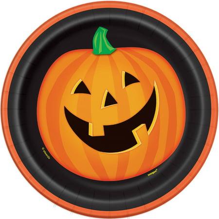 Smiling Pumpkin Halloween Paper Plates, 7 in, 8ct - Halloween Paper Border