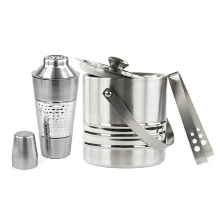 Stainless Steel Double Wall Ice Buckets And Cocktail Shakers Combo Set