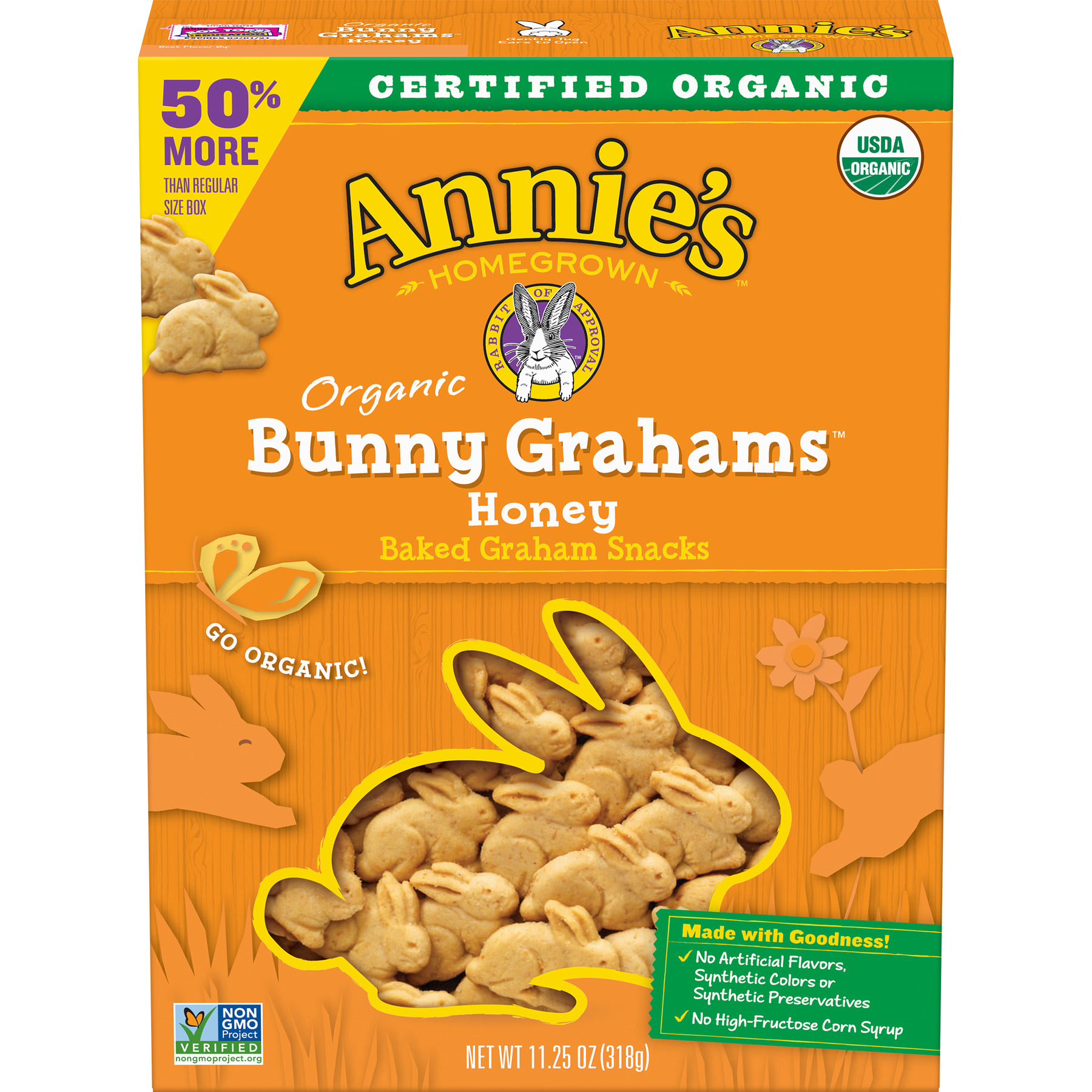 Annie's  Organic Honey Bunny Grahams Baked Graham Snacks 11.25 oz