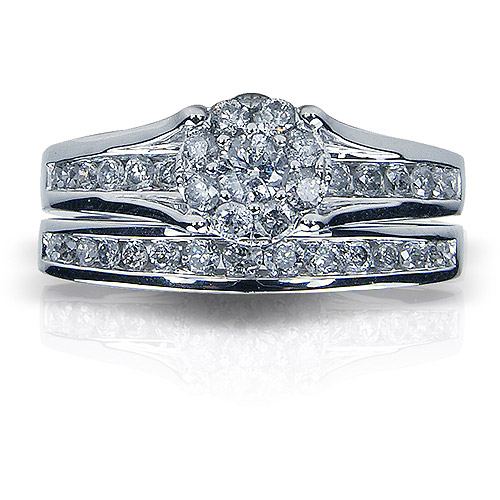 1 Carat T.W. Round Diamond 10kt White Gold Bridal Set by Unique Designs Inc.