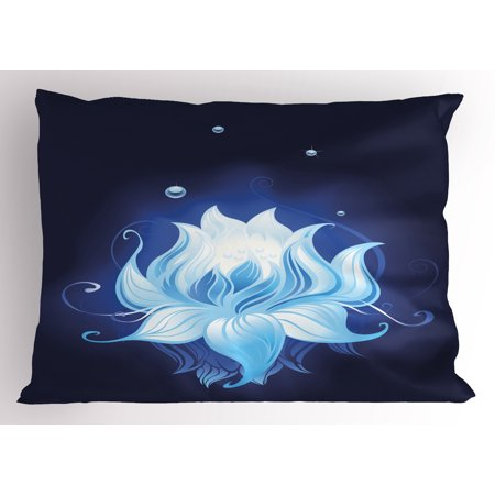 Floral Pillow Sham Zen Lotus with Dew Drops Reflected in Dark Water Background Yoga Spirit Image, Decorative Standard Queen Size Printed Pillowcase, 30 X 20 Inches, Indigo Sky Blue, by Ambesonne