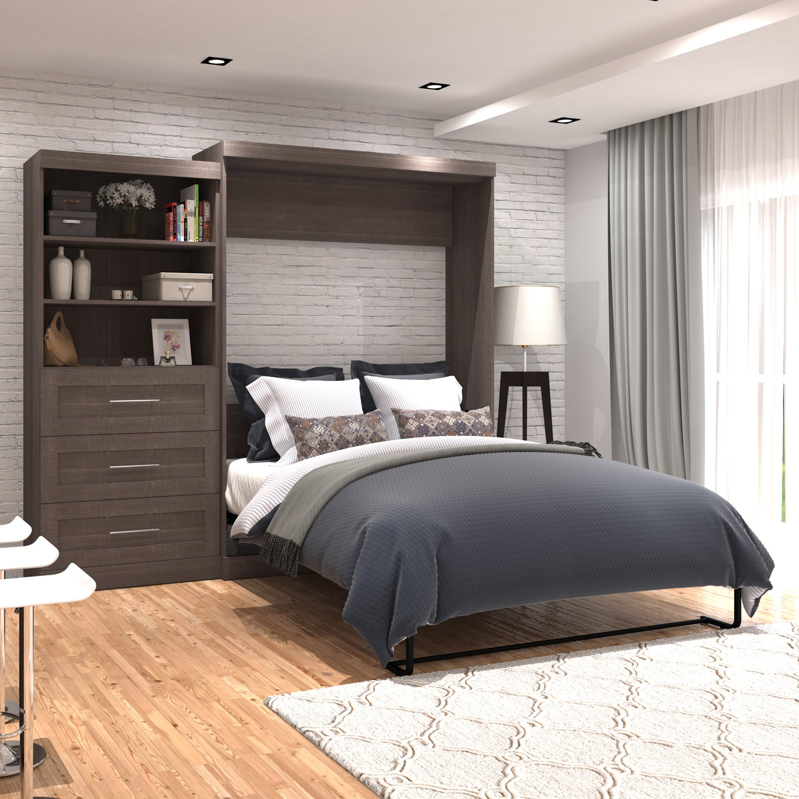 "Pur by Bestar 101"" Queen Wall bed kit in Bark Gray"