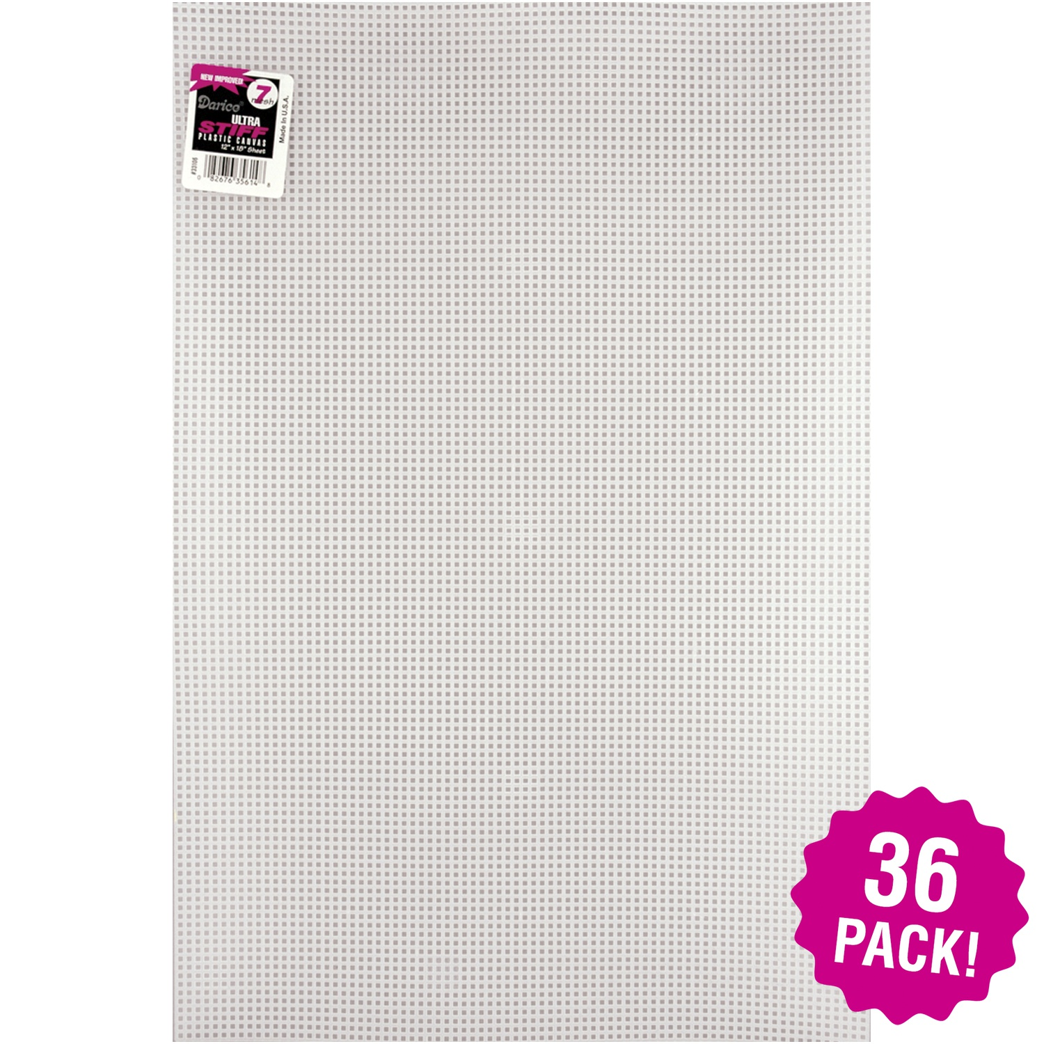 "Darice Ultra Stiff Plastic Canvas 7 Count 12""X18"" - Clear, Multipack of 36"