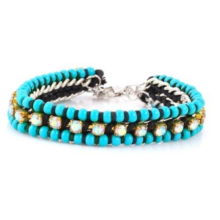 Double Wrap Around Bracelet - Eshopo 0805470011149 Turquoise Crystal Wrap Around Bracelets