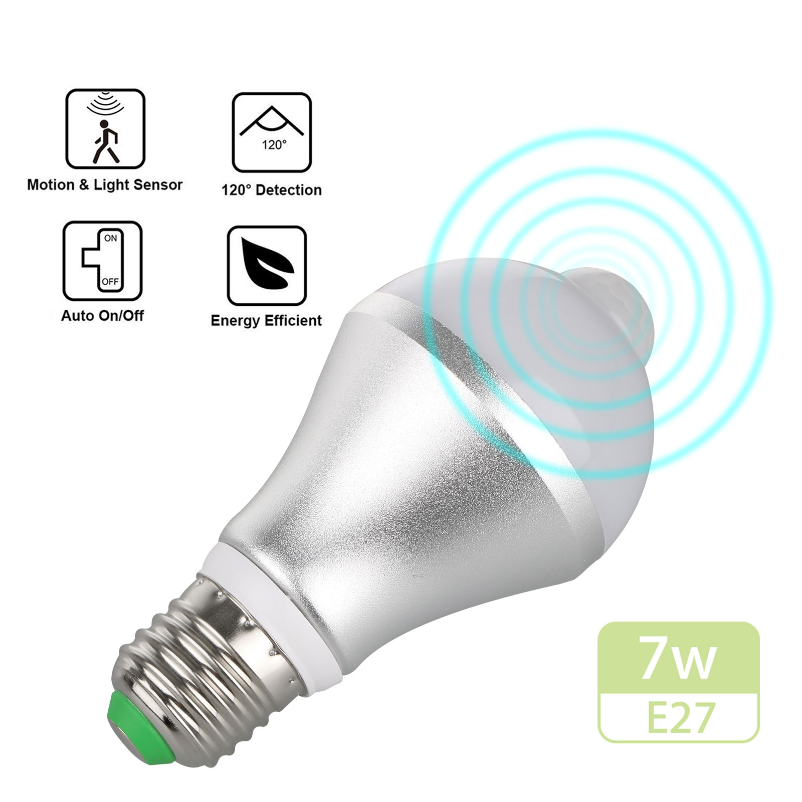 Indoor/Outdoor 5W 7W E27 Dusk to Dawn Motion Sensor LED Bulb Activated Light