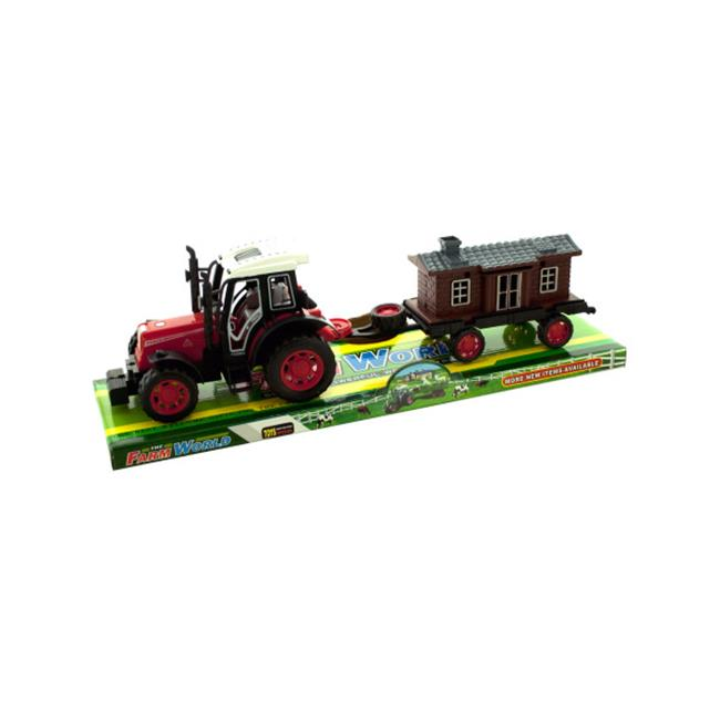 Bulk Buys OB974-16 Friction Farm Tractor Truck and Trailer Set by