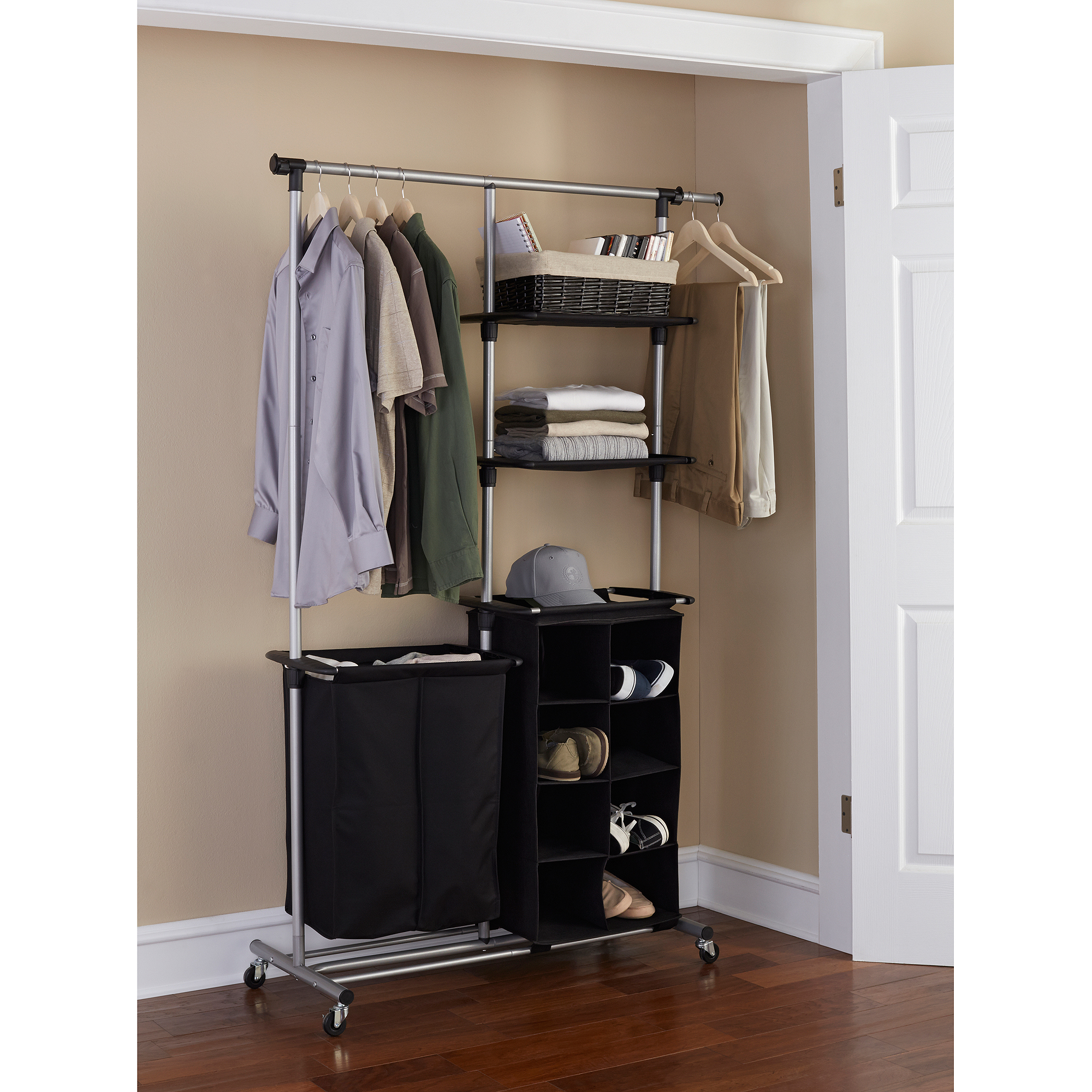 Mainstays Multi-Function Garment Rack, Black/Silver
