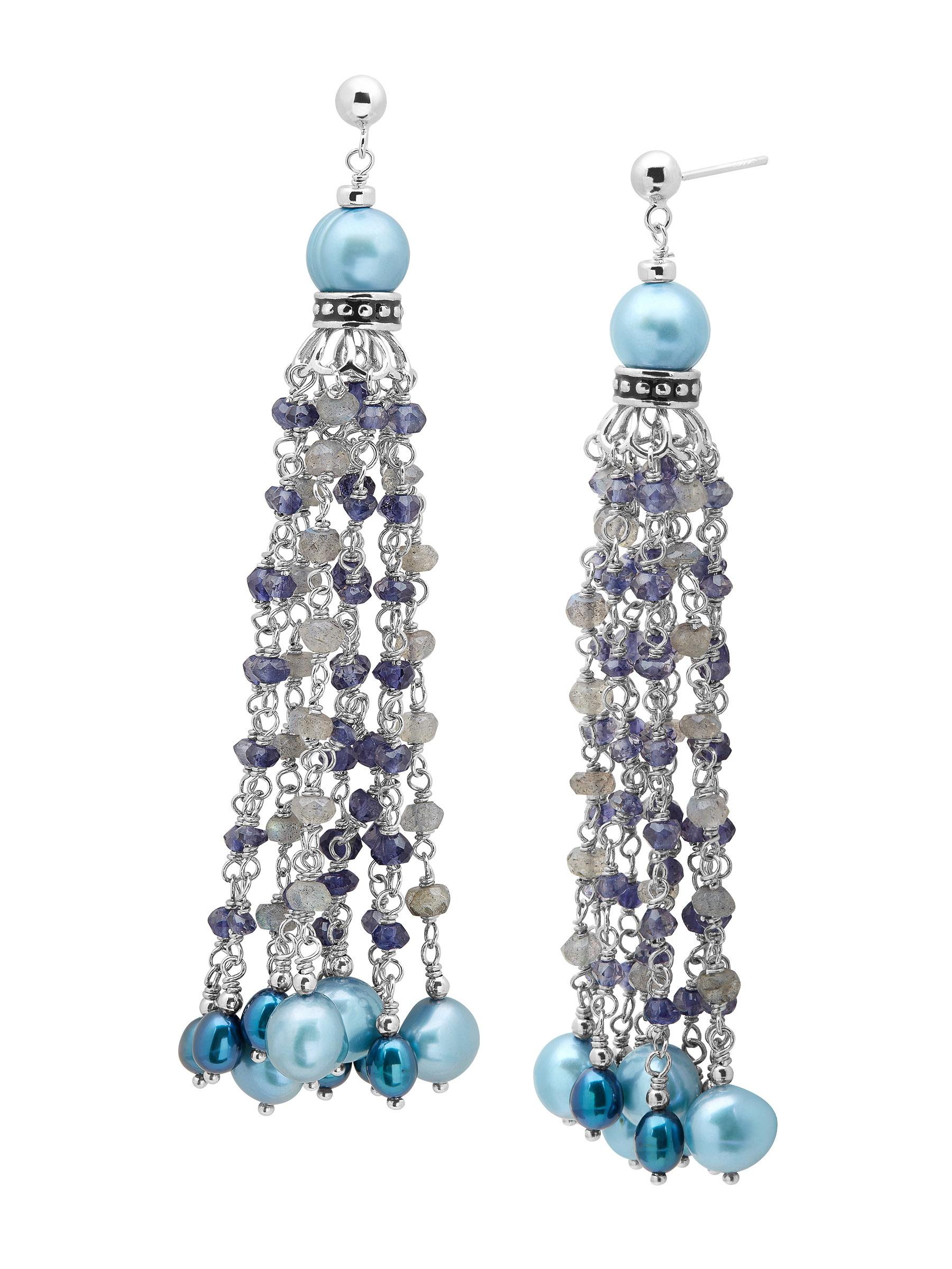 Honora Teal Freshwater Pearl Tassel Drop Earrings with Labradorite & Iolite in Sterling Silver