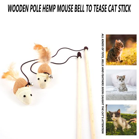 Funny Kitten Play Interaction Toy Cat Teaser Wand Assorted Linen Mouse Toy - image 4 of 6