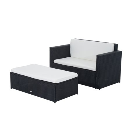 Deluxe Outdoor Rattan Furniture Set 2pc Wicker Sofa Ottoman w/Cushion - image 7 of 7