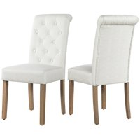 SmileMart 2pcs Upholstered Dining Chairs Tufted Parsons Fabric Padded Dining Chairs for Home/Restaurant/Meeting/Hotel, Beige Fabric