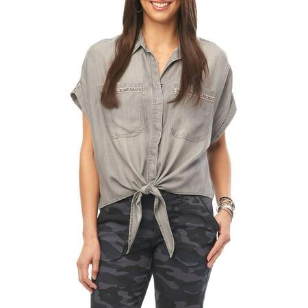 Drop Shoulder Tie-Front Top Bag Ties Bags