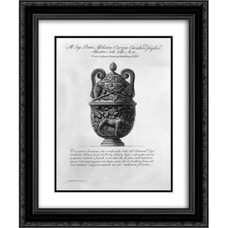 Giovanni Battista Piranesi 2x Matted 20x24 Black Ornate Framed Art Print 'Antique vase of marble with intertwining vines and pine and the figure of a wolf'