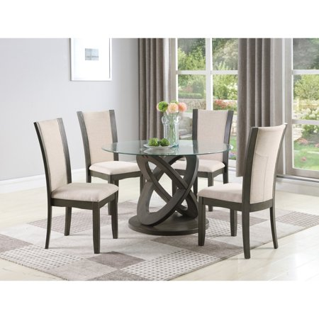 Sensational Roundhill Furniture Cicicol 5 Piece Round High Back Fabric Dining Table Set Short Links Chair Design For Home Short Linksinfo