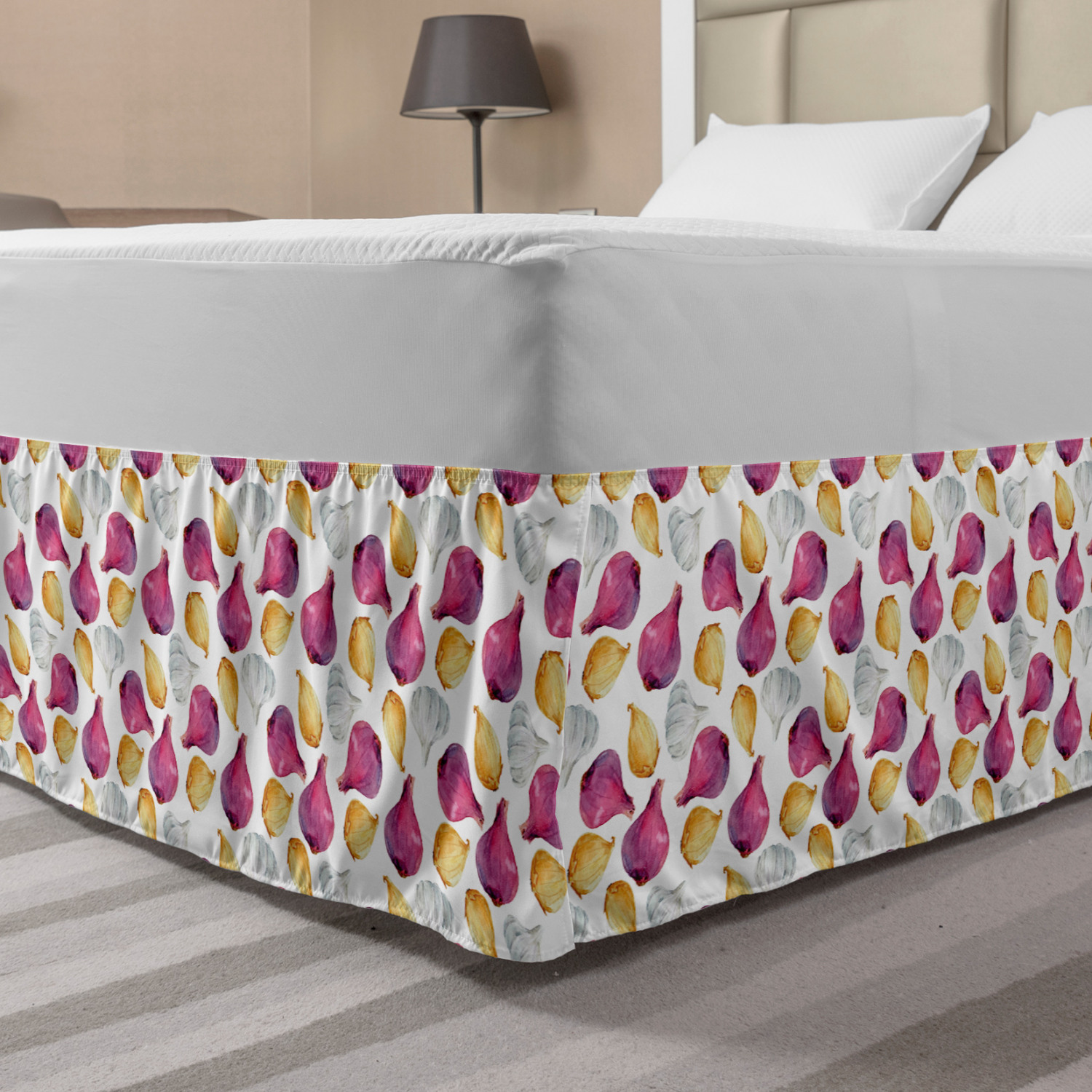 Vegetable Bed Skirt Watercolor Onion Shallot And Garlic Ingredients Flavor Theme Elastic Bedskirt Dust Ruffle Wrap Around For Bedding Decor 4 Sizes Fuchsia Sand Brown By Ambesonne Walmart Com Walmart Com