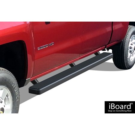"iBoard Running Boards 4"" Black Custom Fit 2001-2013 Chevy Silverado / GMC Sierra 1500 Crew Cab & 2001-2014 2500/3500 (Excl. C/K Classic) (Nerf Bars 