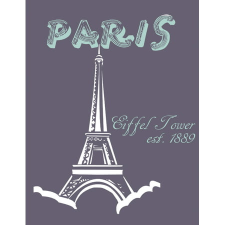 Paris Eiffel Tower Est 1889 Picture Print Purple Background Cute Wall Decoration Inspirational Motivational - Eiffel Tower Decorations