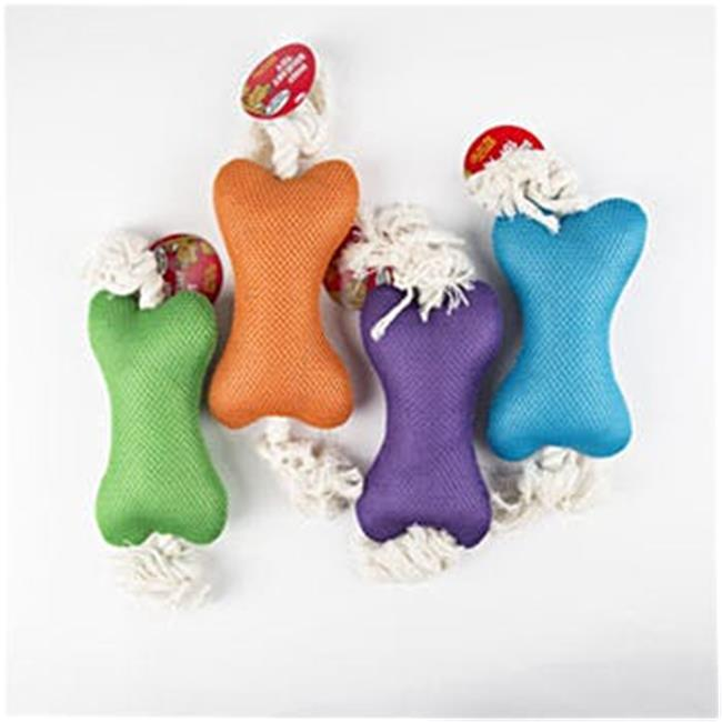 DDI 2320198 14 in. Squeaker Plush Bone with Rope Dog Toy, Assorted Color - Case of 40